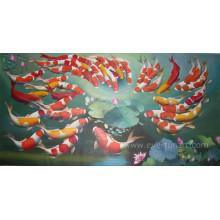 Pintura Handmade dos peixes da arte da lona