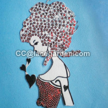 Fashion Lady Design Sequin Embroidery Patches
