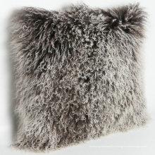 coussin luxueux de peau de mouton de tibet