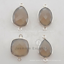 925 Sterling Silver Gray Calcedonia Gemstone Bezel Connectors