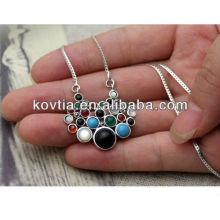 Multicolor diamond pendant jewelry 925 sterling silver chain necklace