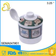 ODM cutomized taza de olla de azúcar de melamina irrompible con cuchara