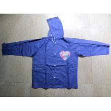 Funktionelle PVC-Beschichtung Wasserdichte Kinder Regenjacke mit Kapuze
