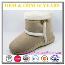 Nova camurça design com pelúcia macia alinhada botas de neve de inverno miúdos