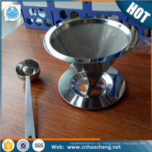 Permanent 2 /4 cup clever pour over coffee dripper /cone shape coffee filter strainer with scoop