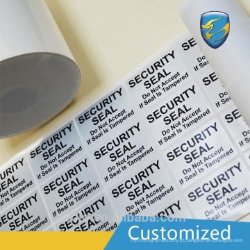 Logotipo personalizado Etiqueta adesiva da etiqueta de segurança do padrão CE e ISO9001