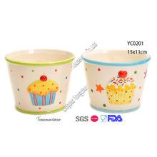 Pintado a mano tazones de cerámica para niños