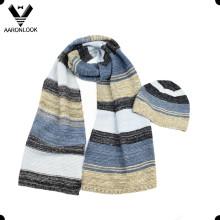 2016 Лучшие продажи Зимний многоцветной полосой трикотажные шарф Beanie трикотажные Set
