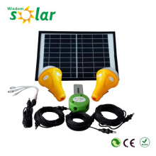 Iluminación de la casa solar con 3 led bombillas y 1 módulo del panel solar, solar powered iluminación