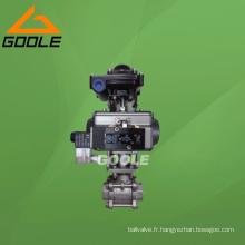 Robinet à tournant sphérique pneumatique de l'acier inoxydable 3PC (GAQ611F)