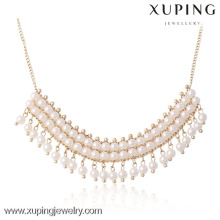 42667 - Xuping Бисером Белый Жемчуг Ювелирные Изделия Кисточкой Ожерелье Дизайн
