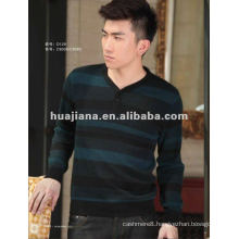 Fashion V neck men's jacquard cashmere sweater