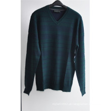 Patterned V-Neck Knit Pullover Sweater para os homens