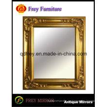 Espejo de pared de madera adornado marco acabado dorado brillante