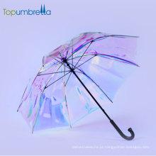 iridescente claro guarda-chuva tendências Topumbrella bonito gradiente de cor mudando brilhante arco-íris piscando reflexivo guarda-chuva