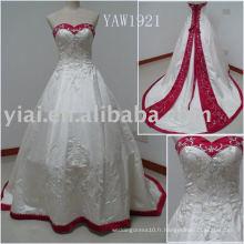 YAW1921 Broderie à billes et robe de mariée rouge et blanche