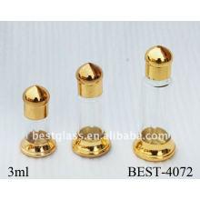 Frasco de perfume dourado do metal 3ml