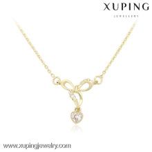 Pendentif en cristal plaqué or 14K Xuping, bijoux de colliers à chaîne courte pour les femmes