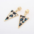 Europe exaggerated gold plate metal skulls Leopard print resin triangle wave women summer drop earrings new jewelry wholesale