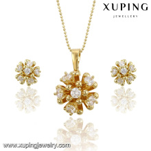63805 xuping cheap bridal 14k gold plated zircon pendant and earrings jewelry set