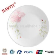 Plato de cena Opal Glassware / Plato de ópalo blanco con decoración