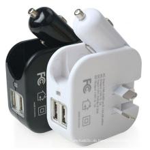 2 in 1 Doppel-USB-Port-Auto-Aufladeeinheit-Ausgangs-Wand-Aufladeeinheit mit faltbarem Au-Stecker