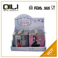 Фляга нержавеющая сталь с дисплей коробки упаковки/продвижение подарки для ночной бар леди девушка