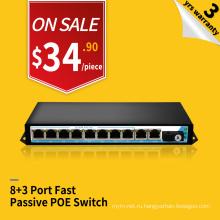 Передачи 250 метров быстрый Ethernet 48В 8 портов пассивный инжектор питания PoE коммутатор