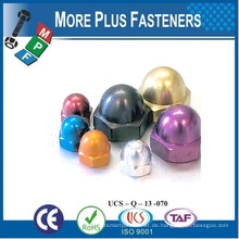 Made in Taiwan Eichel oder Dome Nut Aluminium Farbige Bremssattel Messing Dome Kupplung Hex Domed Cap Nut