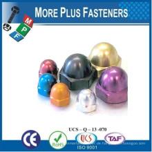 Made in Taiwan Aluminiumlegierung Farbige Eichelmutter Messing Dome Nuss Edelstahl Bremssattel Dome Nut