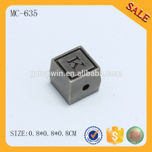 MC635 New design double sided square engraved custom logo metal beads for bracelet