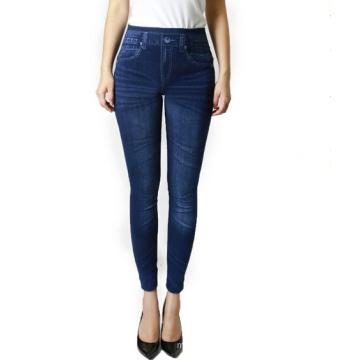 De alta calidad de las mujeres Spandex Skinny Jeans doblar polainas (SR8210)