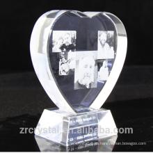 Laser 3D personalizado grabado claro corazón de cristal premios Best Birthday cristal K9, recuerdos de los regalos boda