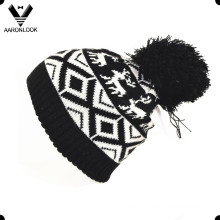 Fashion Acrylic Jacquard Deer Hat with Pompom
