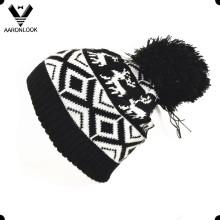 Moda Acrílico Jacquard Deer Hat com Pompom