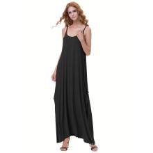 Kate Kasin Womens Casual suelta correas espaguetis Negro Boho Harem vestido KK000712-1