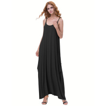 Kate Kasin Womens Casual Loose Spaghetti Straps Black Boho Harem Dress KK000712-1