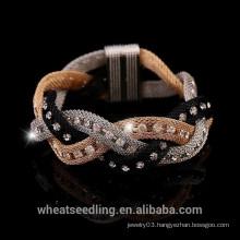 2015 New Design Gold Gauze Element Crystal Magenetic Bracelet