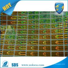 security laser label/sheet 3D hologram sticker/golden hologram stickers