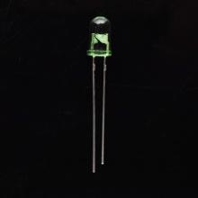 LED verde de 5 mm con orificio pasante y lente verde clara