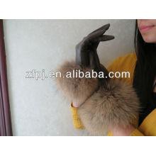 Personalidad Lady guantes de cuero noble con piel de zorro