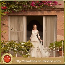 BHD17 Elegant Long Tulle Bride Gown 3/4 Sleeve Lace Appliqued Wedding Dresses Vestidos de Casamento