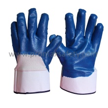 Jersey Cotton Liner Blue Nitrile Coated Gloves with Open Back