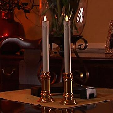 set di 2 luminara fiamma LED candele coniche