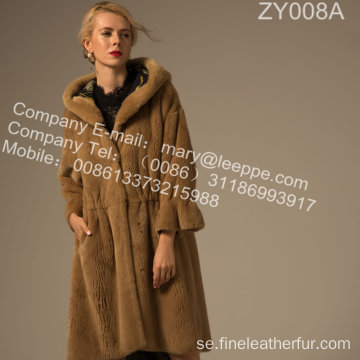 Kvinnor Winter Mink Fur Overcoat