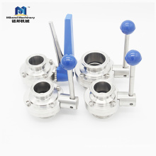 SMS DIN 3A ISO sanitary stainless steel pneumatic butterfly valve price ,butterfly valve