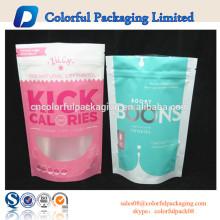 Bolsa de chocolate y dulces y embalaje dulce / Bolsa de cremallera de pie con ventana / Bolsa de plástico laminado con cierre ziplock para embalaje de alimentos