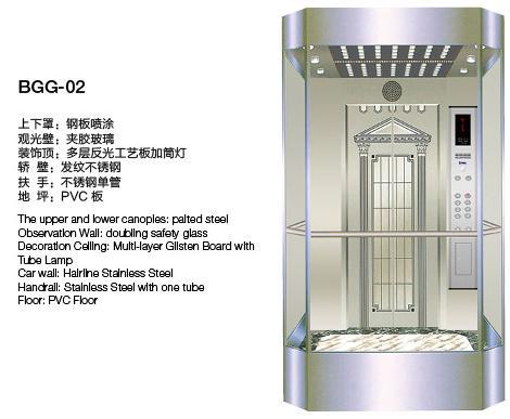 glass passenger elevator bgg-02