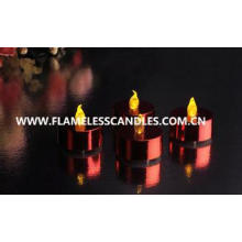 Metallic LED Battery Operated Tealight Candles / Plastic In