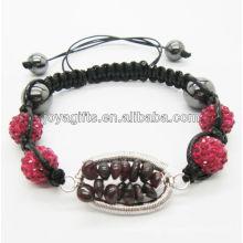 Cristal pulsera tejida colgante tejido granate piedra de afortunado árbol y 10MM rosa bolas de cristal tejido pulsera
